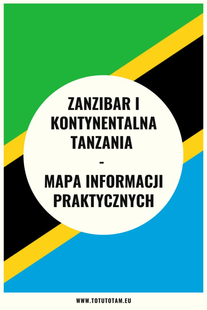 Zanzibar i Tanzania Kontynentalna mapa